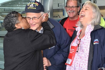 Veteran getting a big kiss!