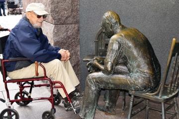 Veteran at FDR Memorial