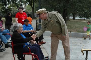 Veteran shaking hands