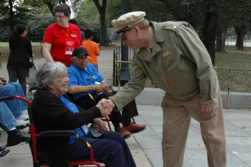 Veteran shaking hands