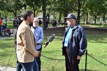 Veteran being interviewed
