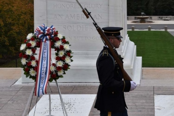 Honor Flight wreath at the Tomb of the Unknown Soldier